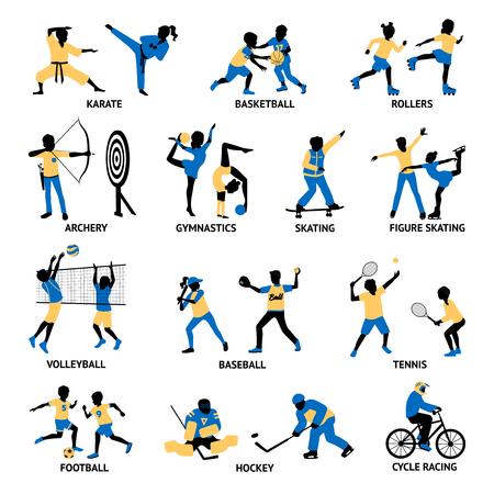 Conjunto de siluetas de deportistas que implica en diferentes juegos y actividades ilustración vectorial aislado Ilustración de vector