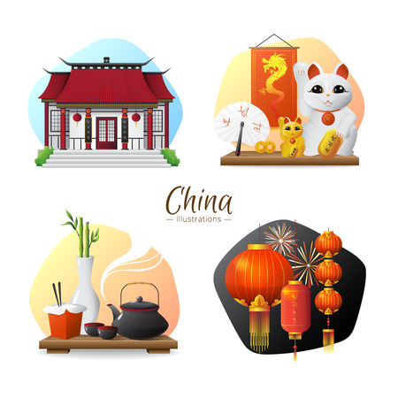 ceremony: Chinese culture traditions and symbols 4 stylish compositions set  with tea ceremony and red lanterns isolated vector illusttration