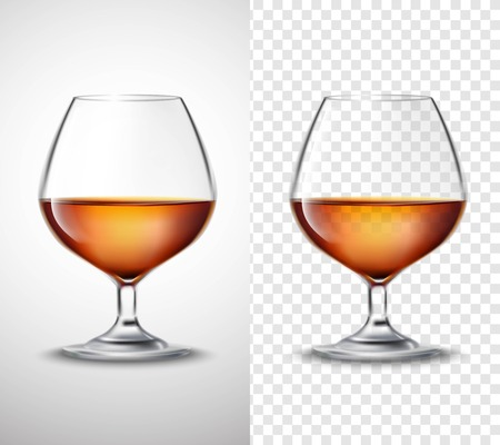 Wine glass with golden alcohol drink serving 2 vertical banners set with transparent background isolated vector illustration Illustration