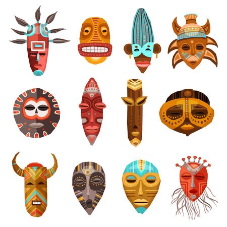 Flache Reihe von bunten afrikanischen ethnischen Stammes-Ritual Masken unterschiedlicher Form isoliert auf weißem Hintergrund Vektor-Illustration Standard-Bild - 64494674