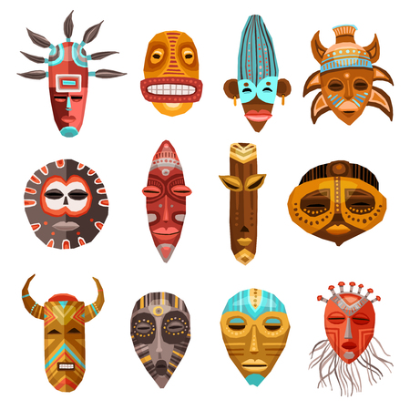 Flat set of colorful african ethnic tribal ritual masks of different shape isolated on white background vector illustration Vettoriali