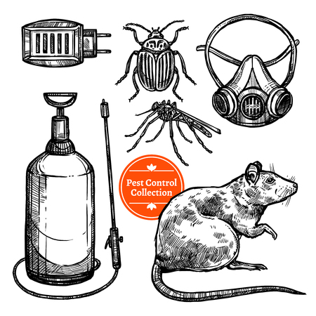 repellent: Hand drawn monocrome sketch pest control set with insects rodent and repellent isolated on white background vector illustration Illustration