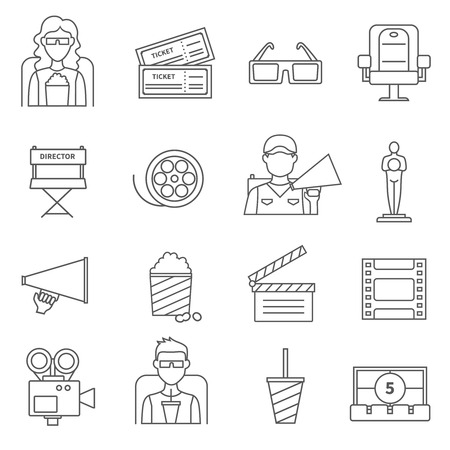 nomination: Black line cinema icons set of film popcorn video camera  oscar figurine movie tickets and director chair isolated vector illustration Illustration