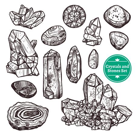 dibujados a mano iconos monocromáticos conjunto de piedras de cristal de rocas con fondo blanco ilustración vectorial