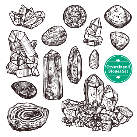 jewel: Hand drawn monochrome icons set of crystal stones rocks with white background vector illustration