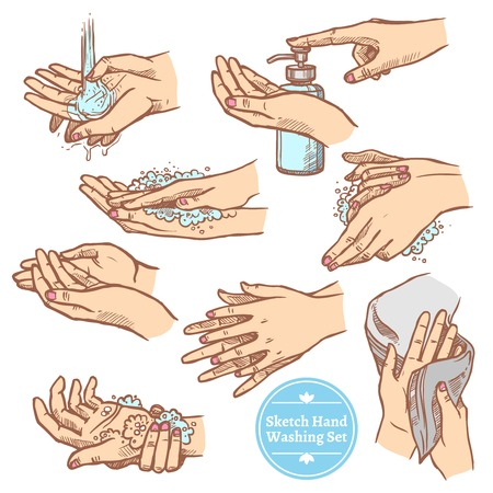 procedures: Colorful sketch hands washing rinsing and drying hands hygiene set isolated on white background vector illustration
