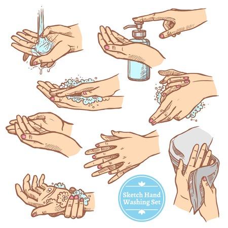 Kleurrijke schets handen wassen spoelen en drogen van de handen hygiëne set op een witte achtergrond vector illustratie Stockfoto - 64494684