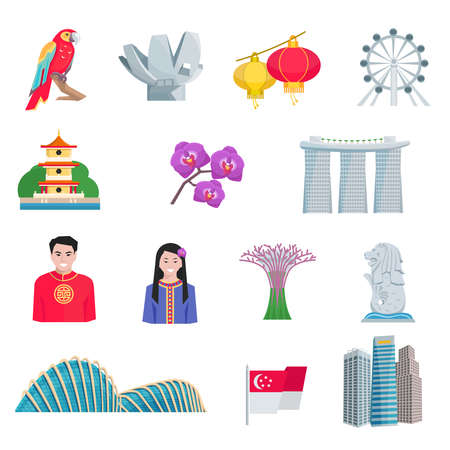 singapore cityscape: Singapore tourists attractions with national cultural symbols and landmarks flat icons set abstract vector isolated illustration