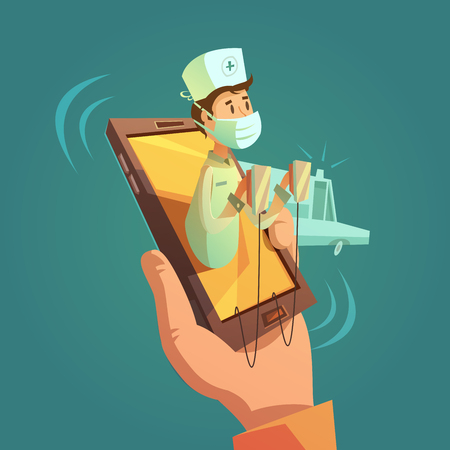 hand phone: Mobile online doctor concept with mobile phone in hand cartoon vector illustration