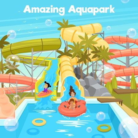 水のプール付きのアクアパーク ポスター テンプレート スライド パイプ陽気な家族と子どもフラット スタイルのベクトル図