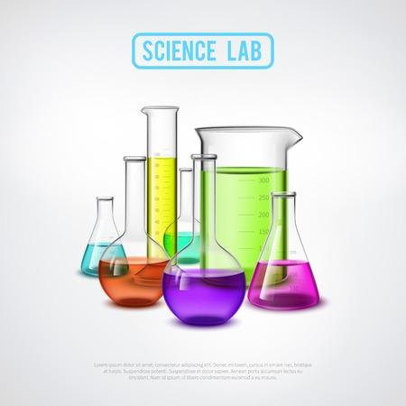 balanza de laboratorio: composición de los equipos de laboratorio con tubos de ensayo de vidrio realistas líquidos de colores ilustración vectorial aislados plana Vectores