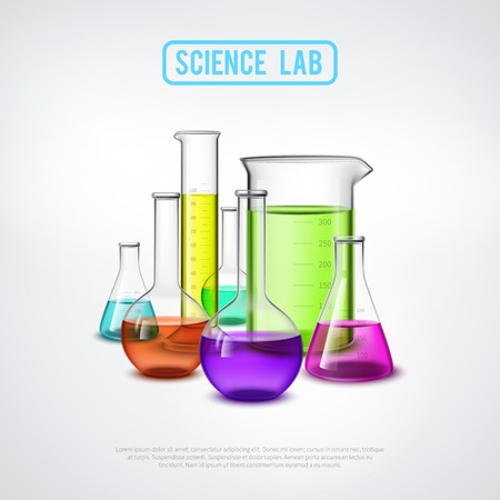with liquids: Laboratory equipment composition with realistic glass test tubes colorful liquids flat isolated vector illustration Illustration