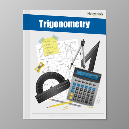 cover book: Trigonometry flyer template with copybook rulers calculator pencils rubber and compass vector illustration Illustration