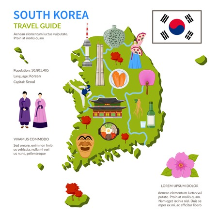 korea food: South korea travel guide for tourists flat infographic poster with country map landmarks and cultural symbols vector illustration Illustration