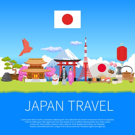 Japan travel flat advertisement flyer  with national cultural symbols landmarks and places of interest composition poster vector illustration Illustration