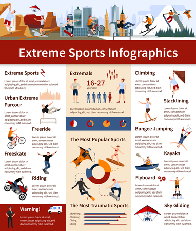 traumatic: Flat design infographics presenting information about popular and most traumatic extreme sports vector illustration