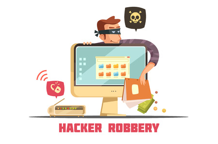 security code: Computer hacker breaking security code to  access bank account and steal money retro cartoon icon vector illustration
