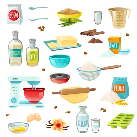 salt flat: Baking ingredients colored isolated icons set with flour sugar salt butter eggs milk cinnamon vanilla vector illustration