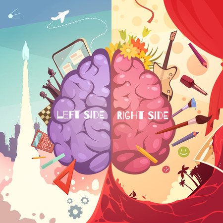 educative: Human brain left and right side difference educative learning aid retro cartoon symbolic poster print vector illustration Illustration