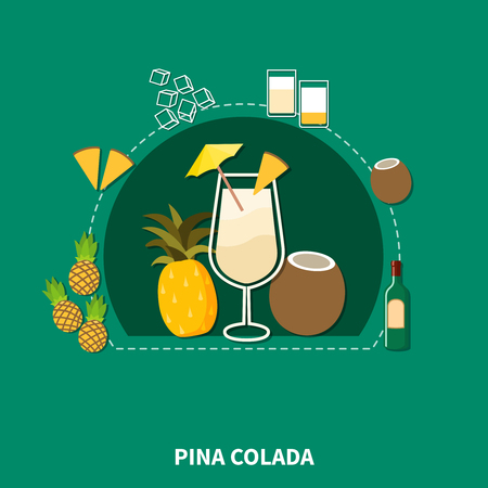 pina colada: Cocktail recipe template of pina colada with ingredients in flat style isolated vector illustration Illustration