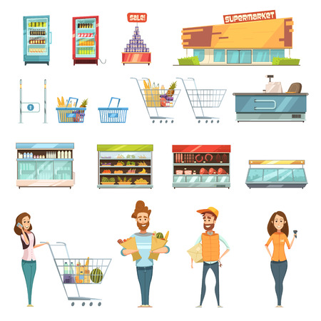 aisle: Supermarket grocery shopping retro cartoon icons set with customers carts baskets food and products  isolated vector illustration