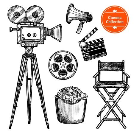 cadeira: Cinema e fazer filmes desenhado à mão vintage set com altifalante cadeira câmera carretel de válvula e pipoca isolado no fundo branco esboço ilustração vetorial