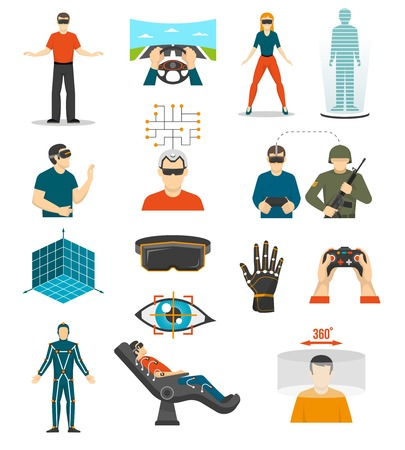 wired: Virtual reality video games icons set with joystick in people hands wired gloves augmented reality glasses isolated vector illustration