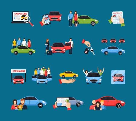 Carsharing-de pictogrammen met carpooling symbolen op blauwe achtergrond worden geplaatst isoleerden vlak vectorillustratie die