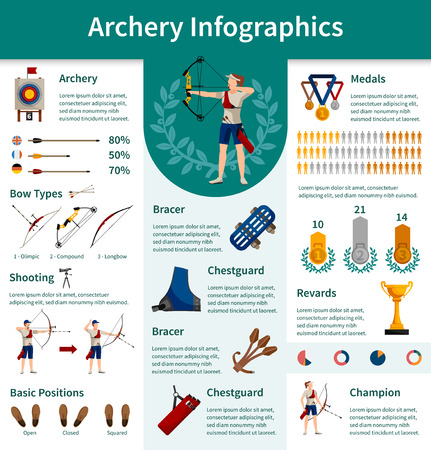 information equipment: Archery flat infographics presenting information about necessary equipment for competitions bow types and statistics vector illustration