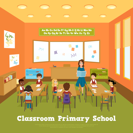 school classroom: Primary school classroom template with pupils and teacher in flat style vector illustration Illustration