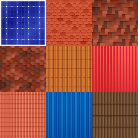 roof construction: House roof tile set with different construction material structure and texture of covering vector illustration Illustration