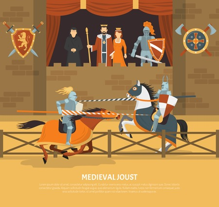 Medieval joust vector illustration with knights in armor on horseback and audience of royal blood in lodge flat vector illustration Illustration