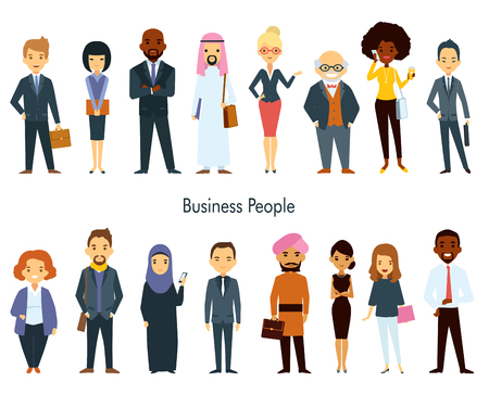 multinational: Multinational business professional characters with elements of ethnic clothes isolated vector illustration