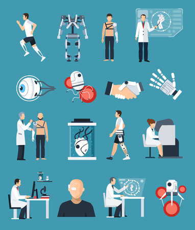 neural: Bionics icons set with technology and science symbols on blue background flat isolated vector illustration