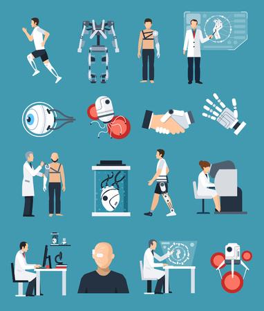 Icone bionica set con la tecnologia e la scienza simboli su sfondo blu piatto illustrazione vettoriale isolato