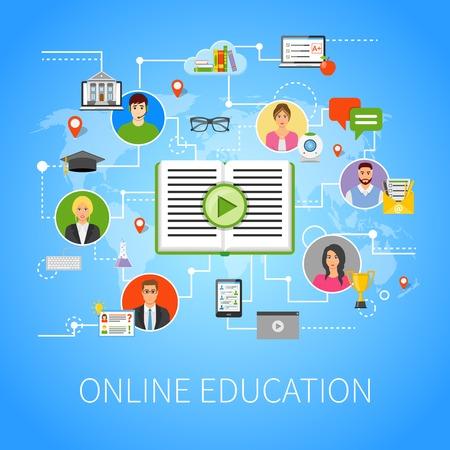 Online onderwijs e-learning plat flowchart met haar technologie elektronische media informatiebronnen webpagina ontwerp vector ilusration Vector Illustratie