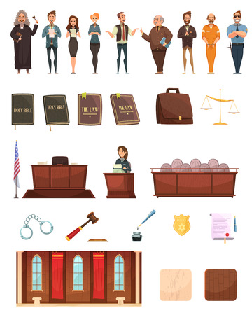 Criminal justice retro cartoon icons collection with law books jury box judge and courtroom isolated vector illustration Illustration