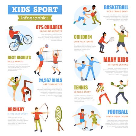 Kinder-Sport-Infografiken mit Ausbildung Kinder setzen in verschiedenen Spielen und Aktivitäten Vektor-Illustration Einbeziehung