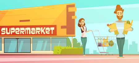 grocery shopping: Family supermarket grocery shopping retro cartoon poster with store building street view and customers  outdoor vector illustration Illustration