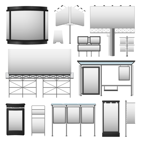 displays: Outdoor advertisement set with blank billboards displays of different sizes in gray colors isolated vector illustration