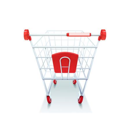 carretilla de mano: carretilla de mano carro de alambre recubierto de supermercados de comestibles con plástico rojo tratamiento de las imágenes realistas fondo blanco Ilustración del icono del vector