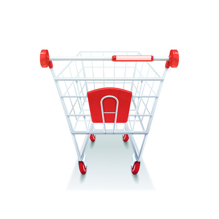 Supermarket grocery coated wire shopping pushcart with red plastic handle realistic image white background icon vector illustration Illustration