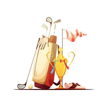 Golf bag with ball clubs shoes and tour championship winner trophy retro cartoon composition icon vector illustration Illustration