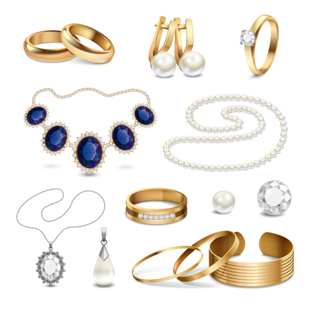 silver jewelry: Beautiful fashionable gold and silver jewelry and accessories realistic set isolated on white background vector illustration Illustration