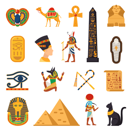 touristic: Egypt touristic icons set with pyramids and desert symbols flat isolated vector illustration Illustration