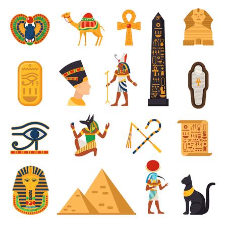 Egitto icone turistiche impostate con piramidi e deserto simboli piatto illustrazione vettoriale isolato