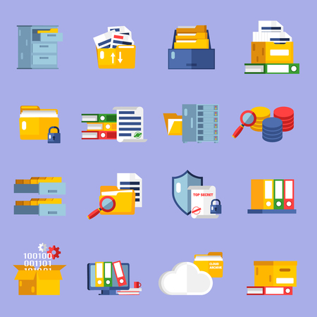 Archive icons set with information storage symbols flat isolated vector illustration