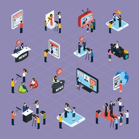 Icone isometriche dei giornalisti impostati con i simboli multimediali illustrazione vettoriale isolata