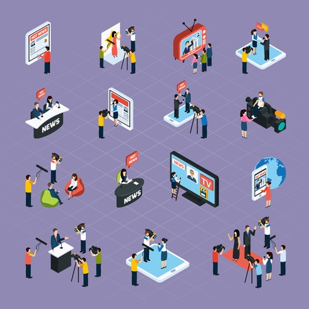 Reporters isometric icons set with media symbols isolated vector illustration