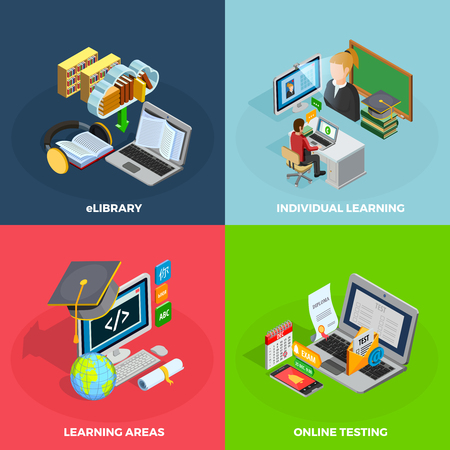 E-learning concept isometric icons set with individual learning symbols isolated vector illustration Çizim